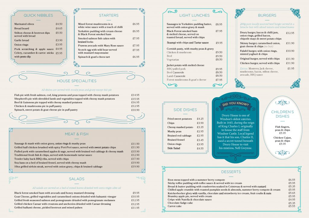 Drury House Restaurant Windsor Menu Page 2