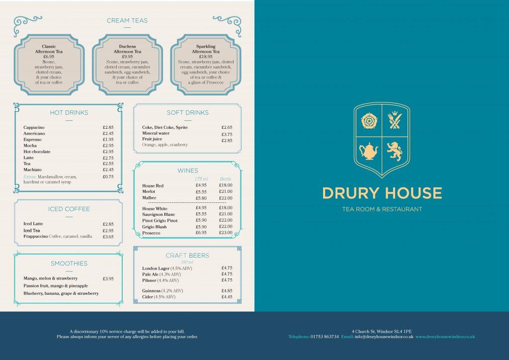 Drury House Restaurant Windsor Menu
